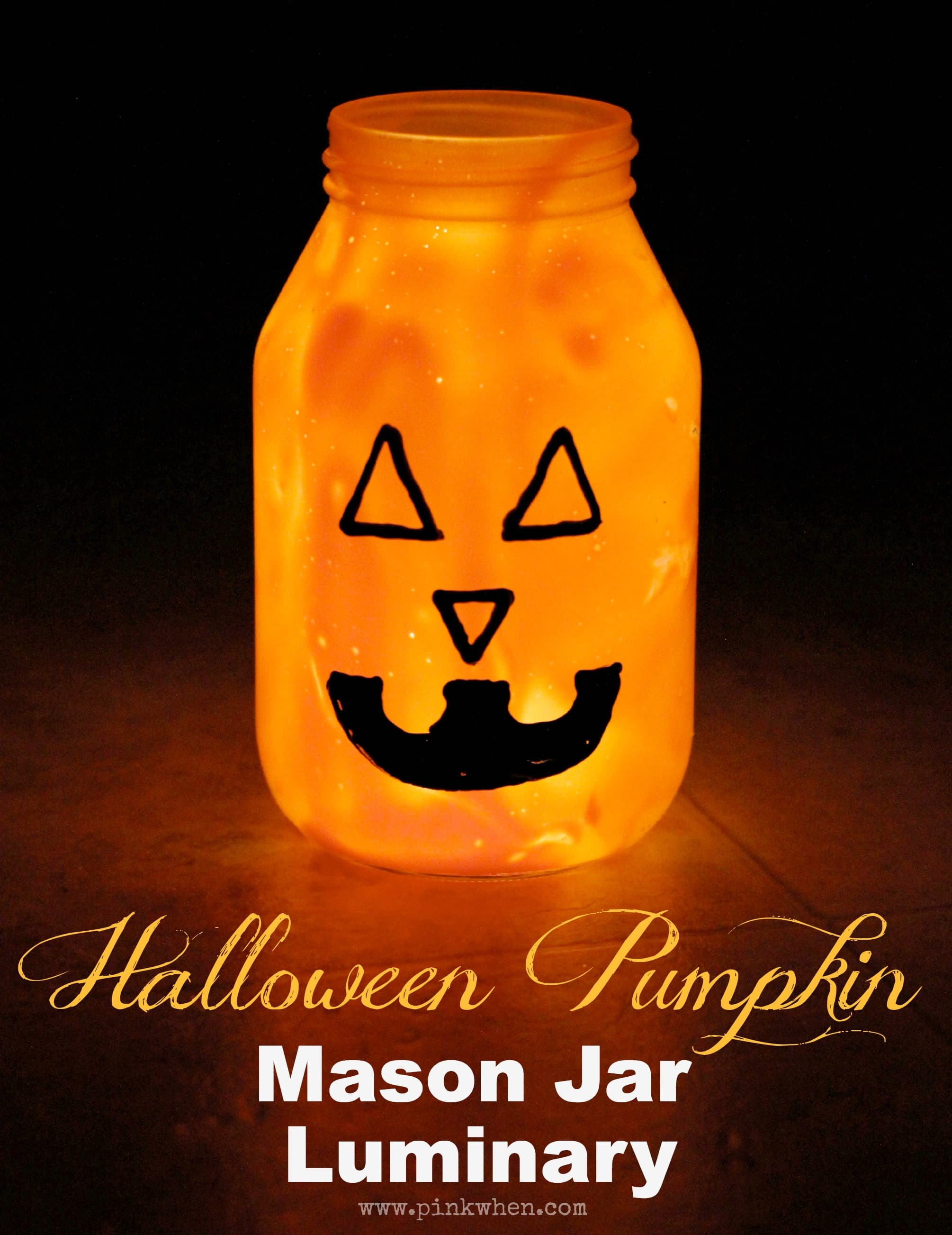 Halloween Pumpkin Mason Jar Luminary