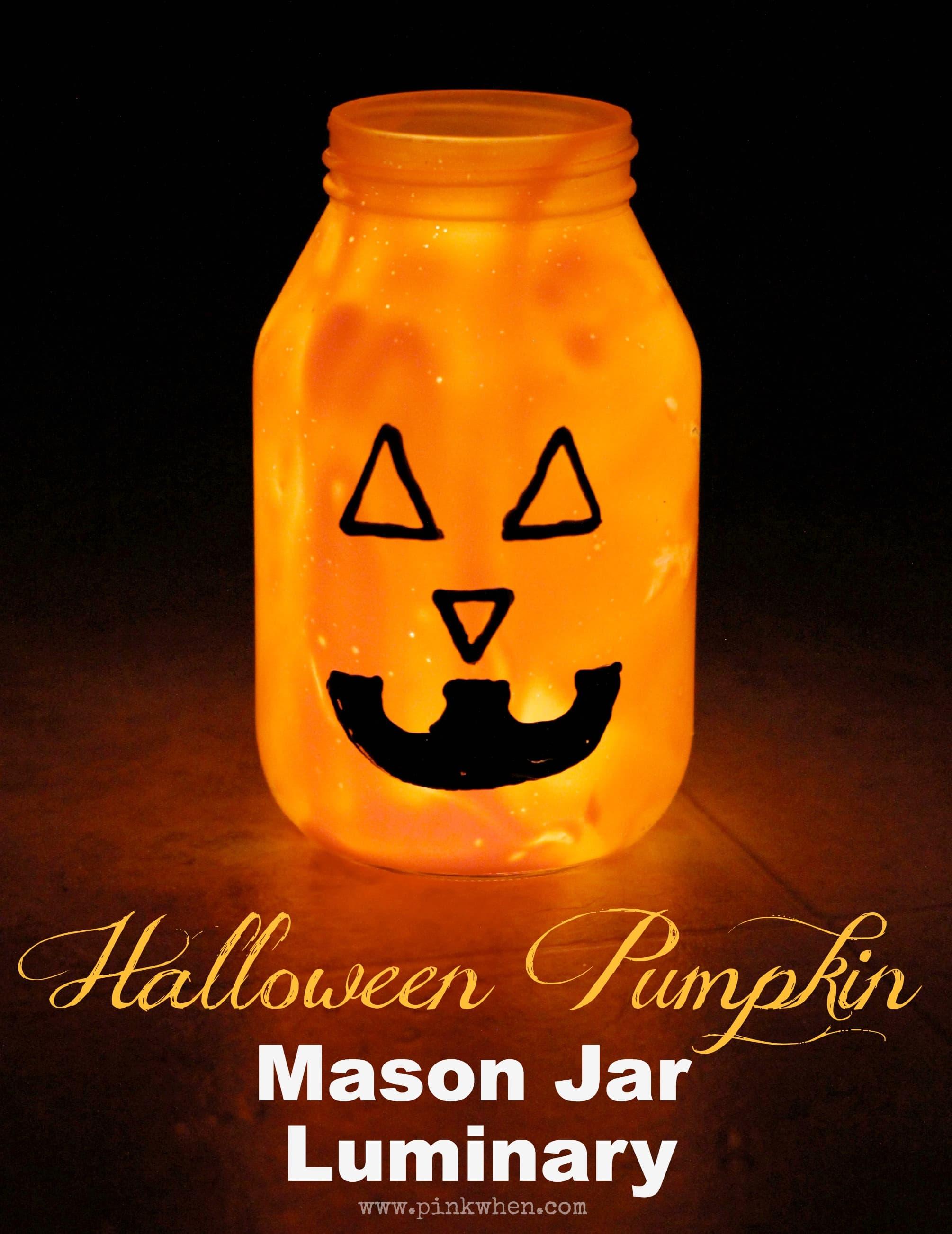 Halloween Pumpkin Mason Jar Luminary