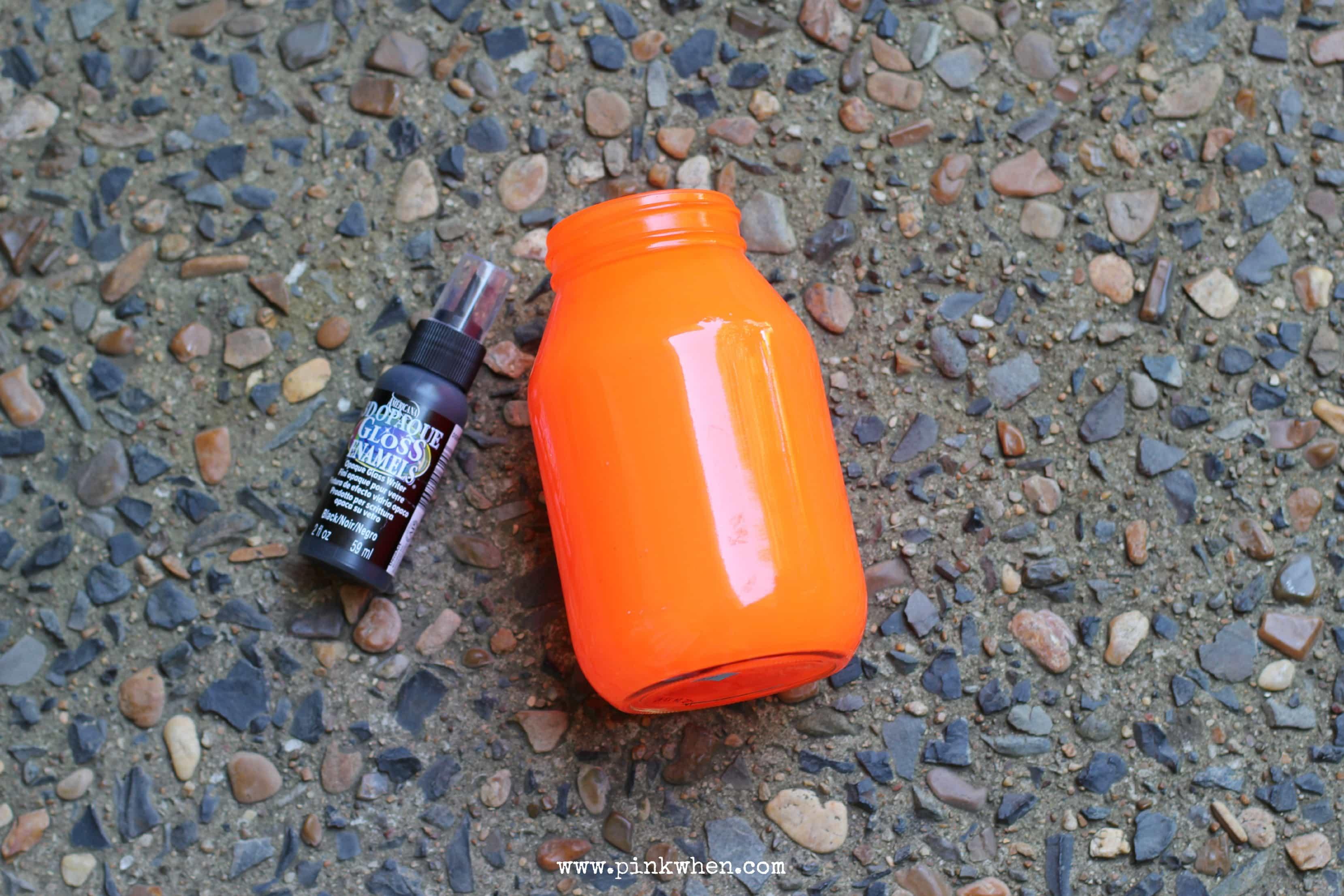 Pumpkin Mason jar Luminary Painted 1