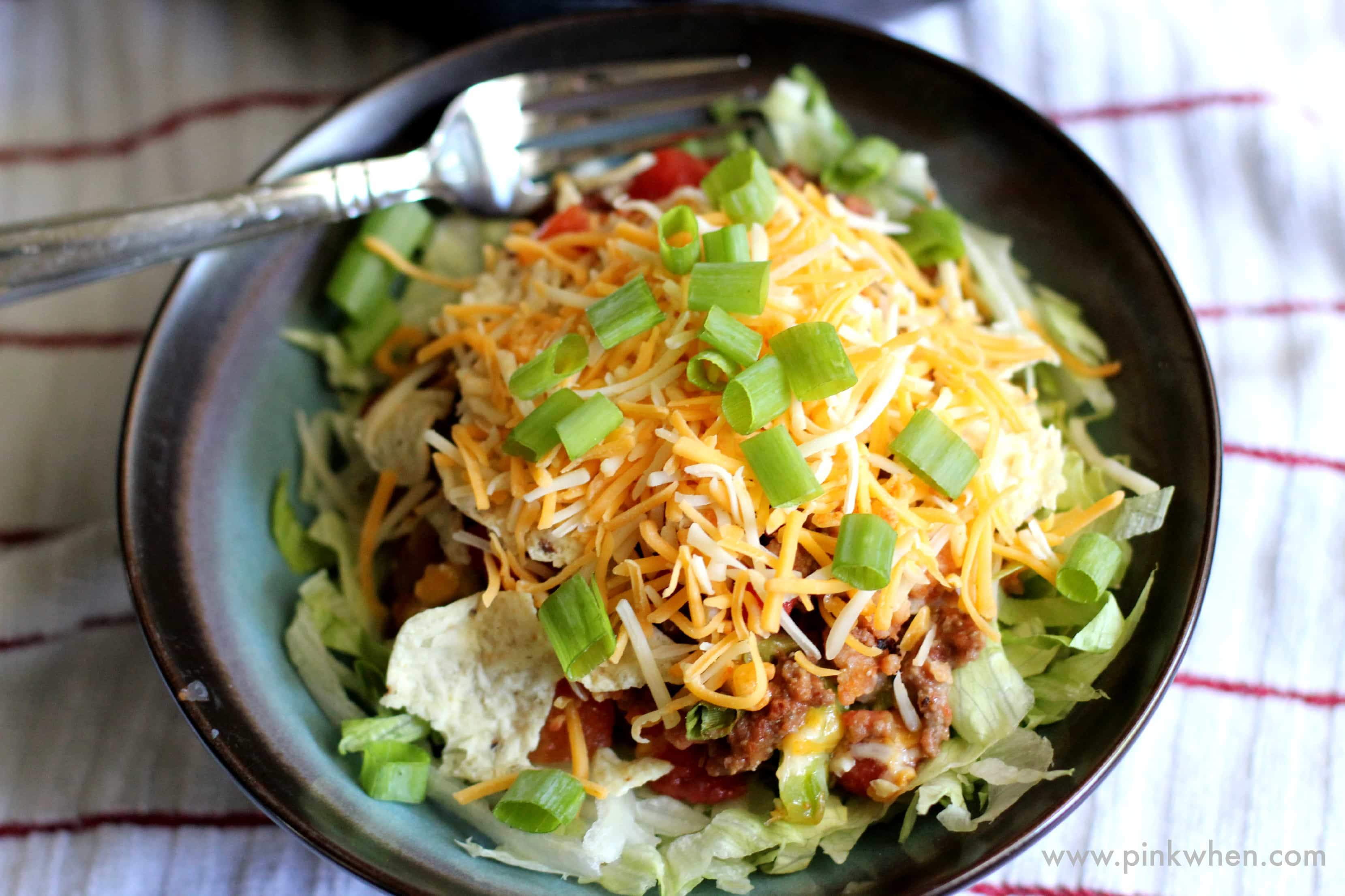 Skillet Beef and Bean Taco Casserole in a bowl.