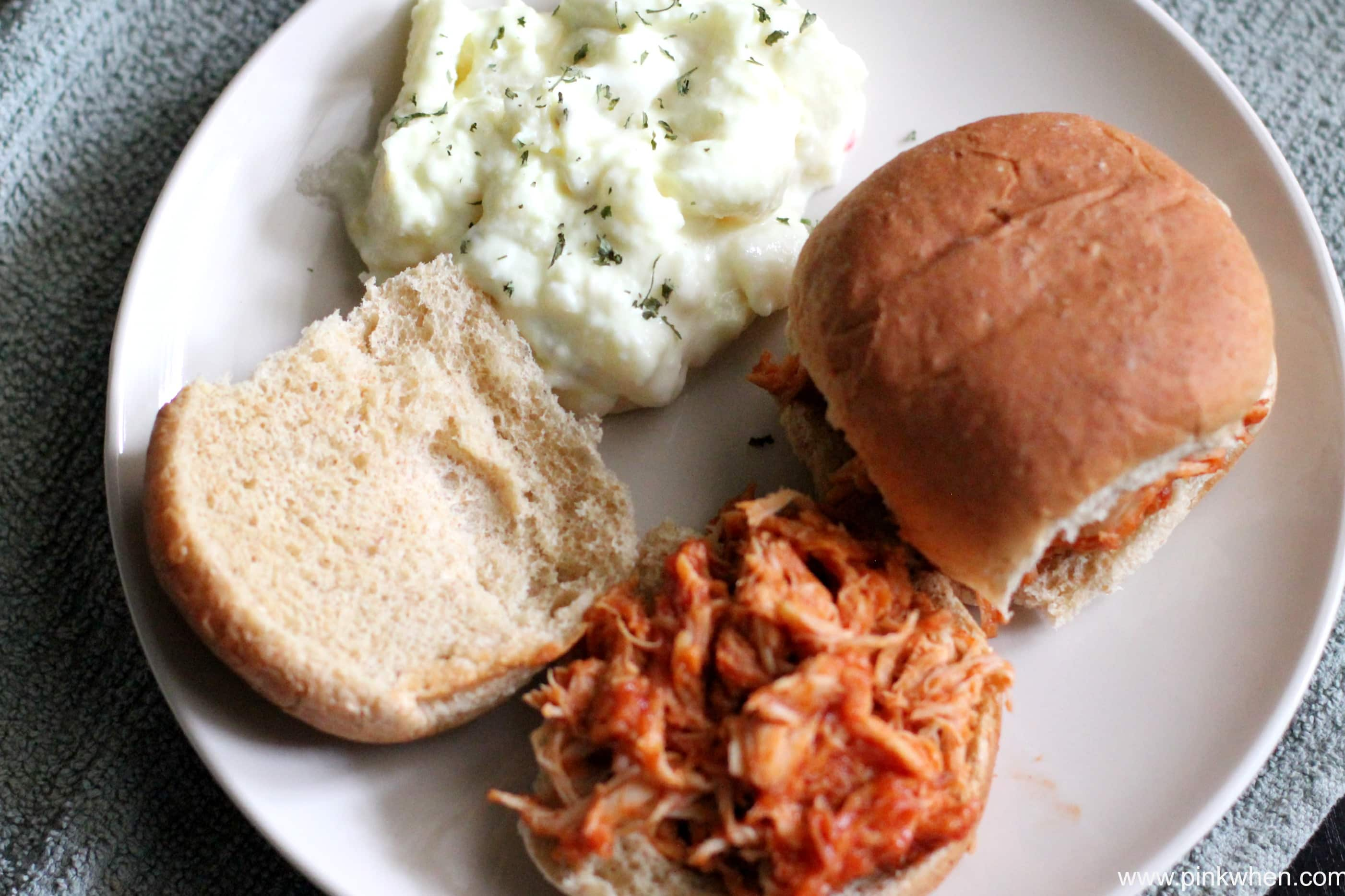 Slow Cooker BBQ Shredded Chicken Sliders