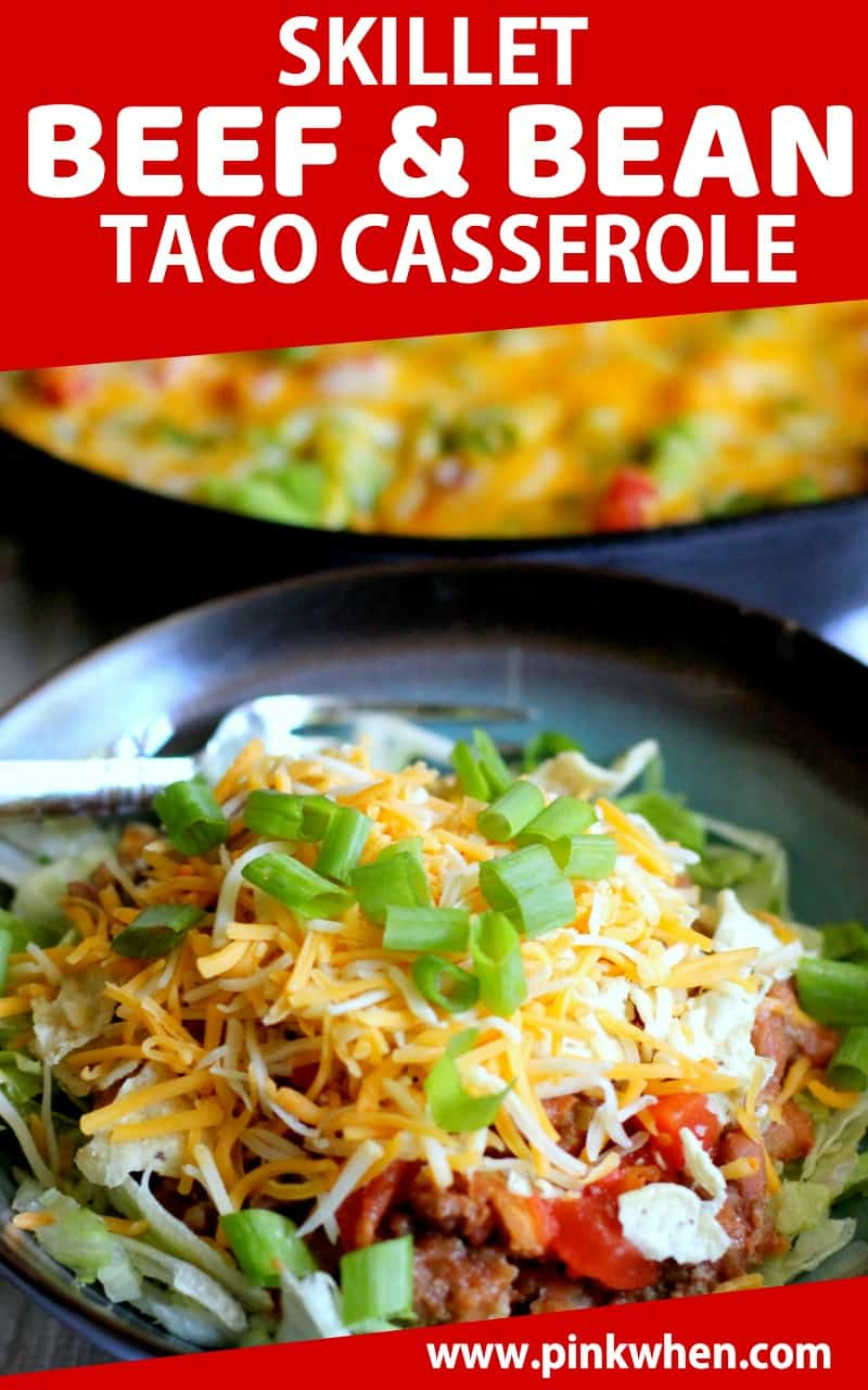 This beef and bean taco casserole is made in a skillet, then served on a bed of lettuce with cheese, onion, peppers, and more. Made in 30 minutes! #tacocasserole #quickdinner #30minutemeal