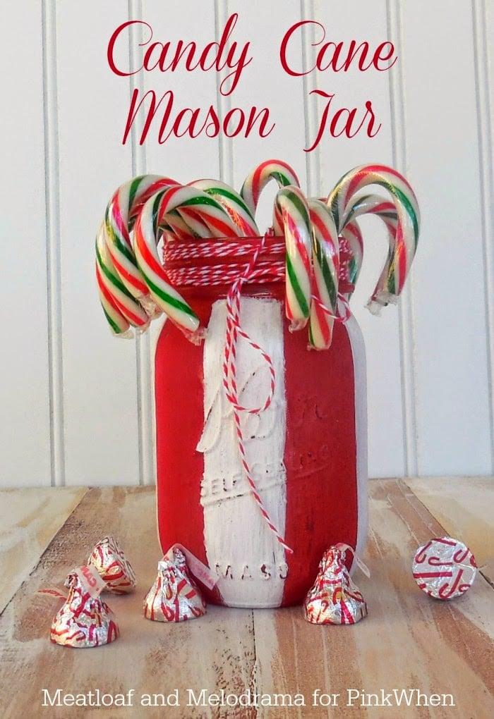 Candy Cane Mason Jar Craft
