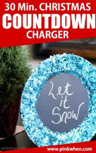 Christmas Countdown Charger with blue glitter.