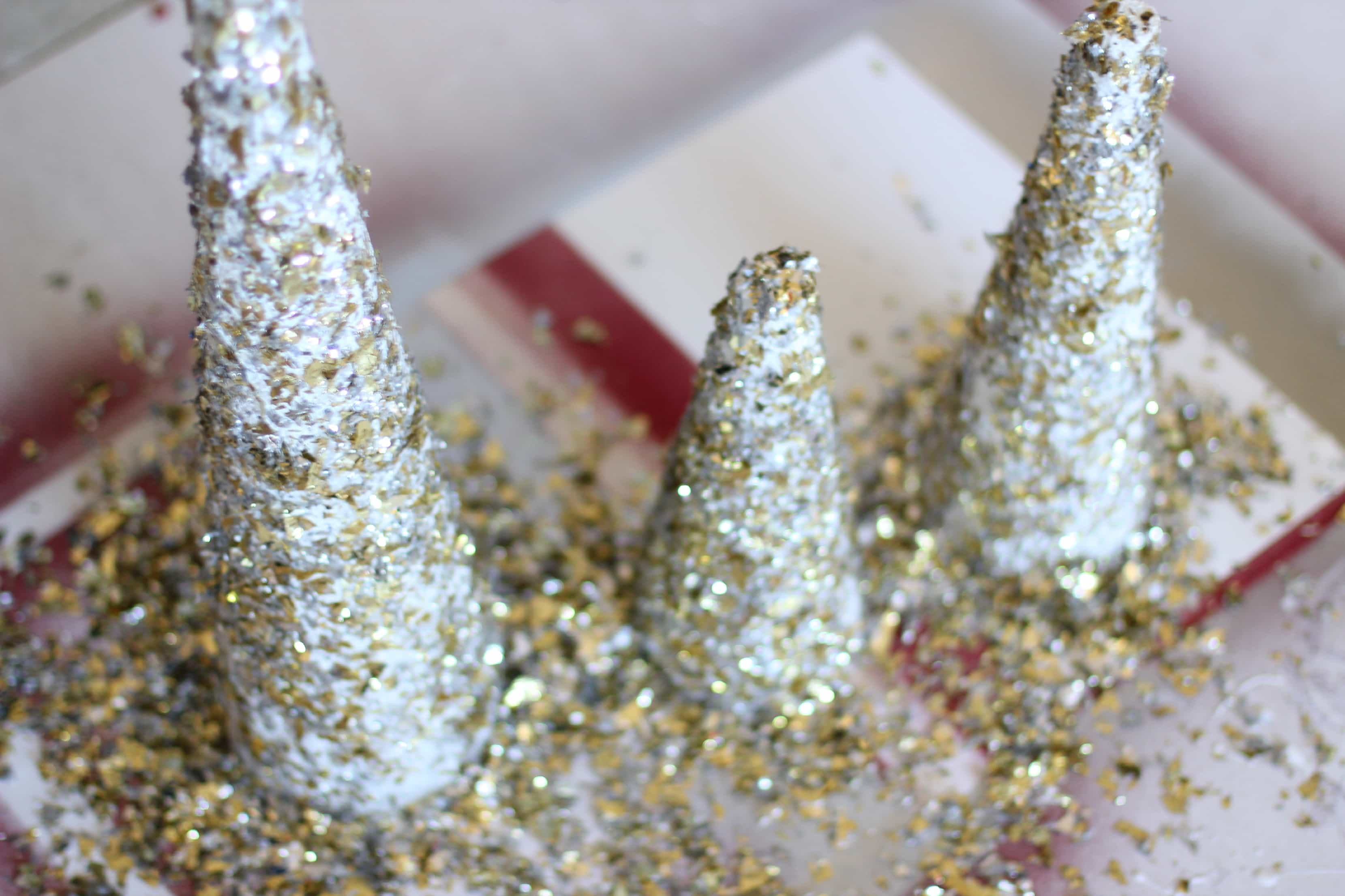 diy glitter and gold christmas tree decor via pinkwhencom - Glitter Christmas Tree