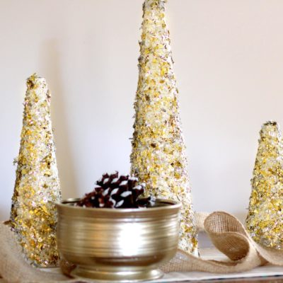 DIY Glitter and Gold Christmas Tree Decor