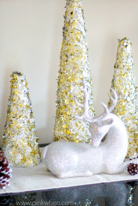 DIY Glitter and Gold Christmas Tree Decor via PinkWhen.com
