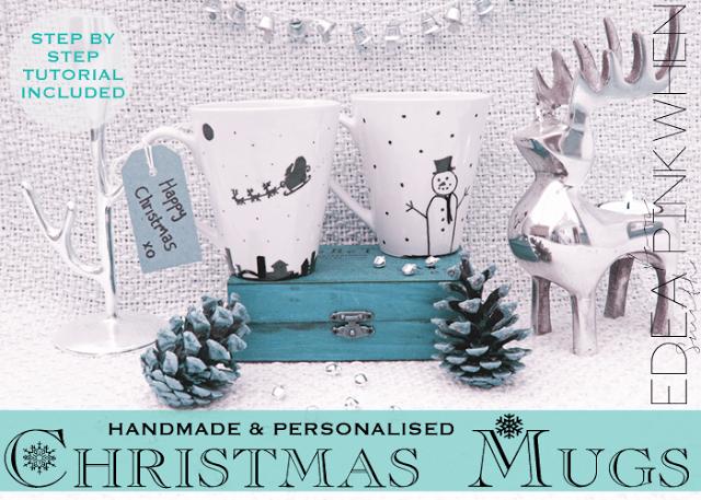 DIY Handmade Christmas Mugs - PinkWhen