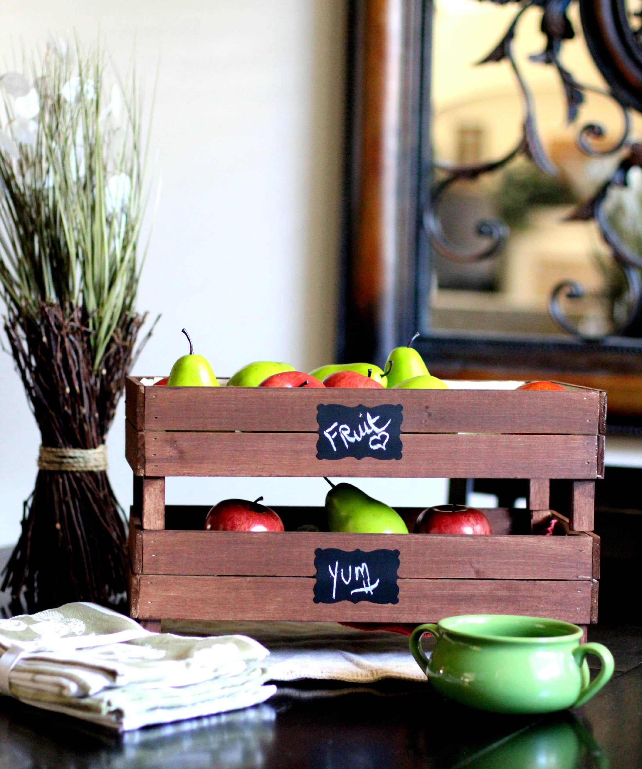 DIY Stackable Slatted Fruit Crate via PinkWhen.com