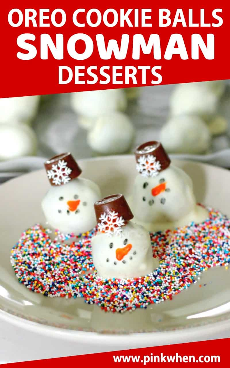 Cream cheese and crushed OREO cookies rolled into cute little snowman treats. A fun and easy Christmas dessert. #ChristmasDesserts #Snowman #CookieBalls