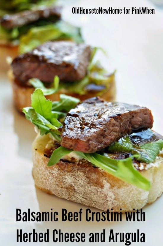 Balsamic Beef Crostini with Herbed Cheese and Arugula from Pink When featured on Belle of the Kitchen