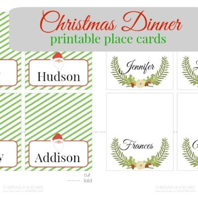 Free Christmas Printable Place Cards
