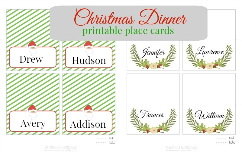 Christmas printable place cards pinkwhen for Table placement cards templates