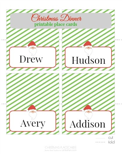 Christmas Printable Place Cards