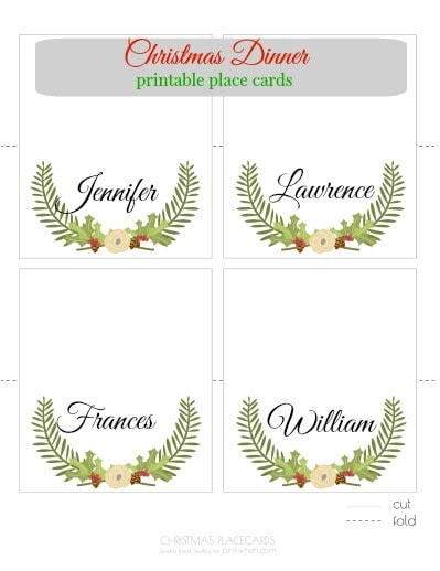Christmas printable place cards pinkwhen
