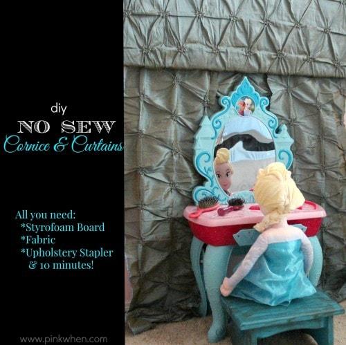DIY No Sew Cornice and Curtains