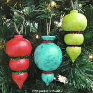 DIY Painted and Glittered Wooden Ornaments