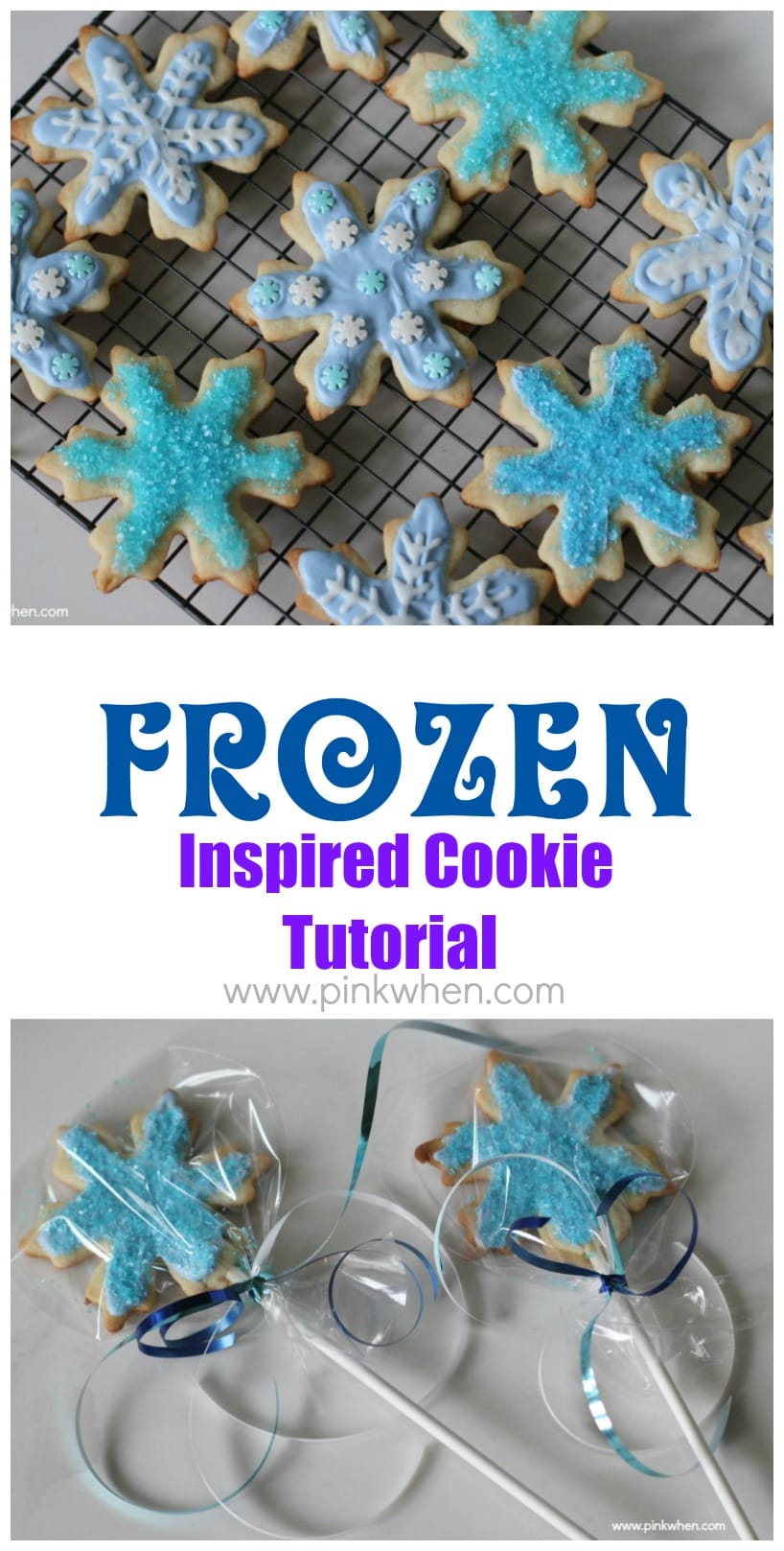 FROZEN Inspired Cookie Tutorial with Video from PinkWhen.com