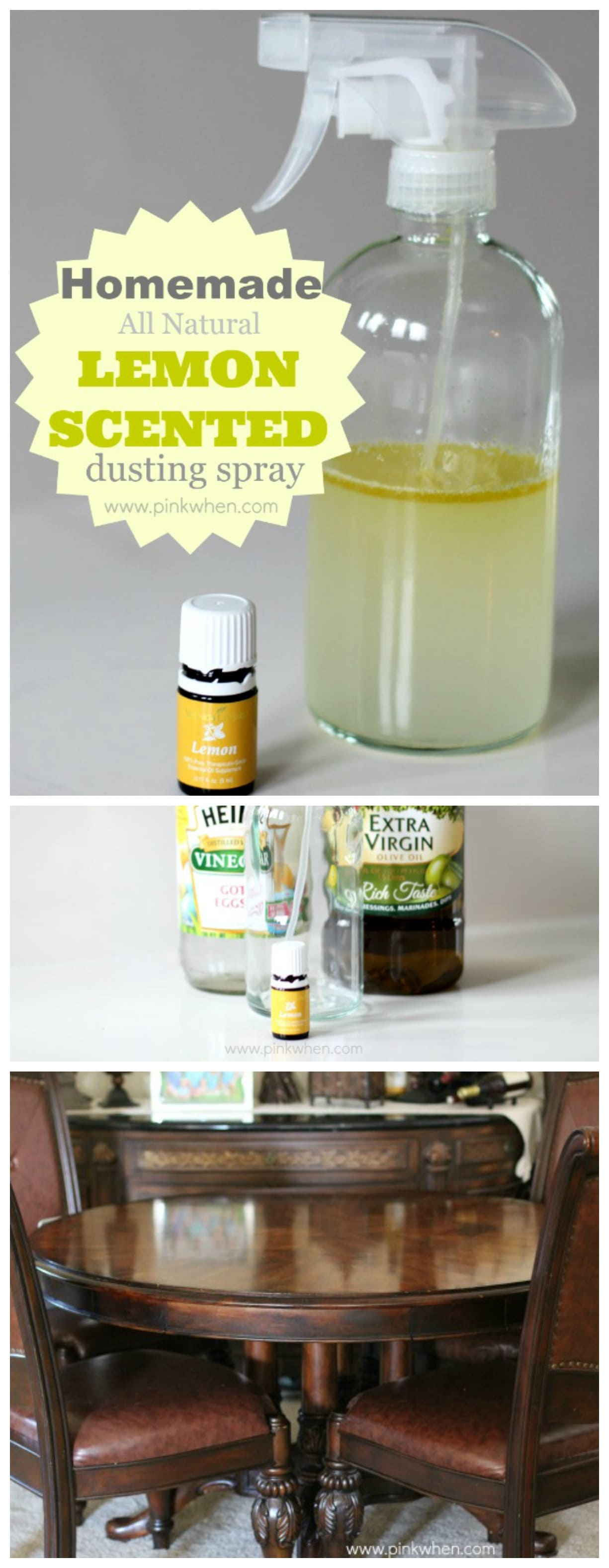 Learn the right combinations to use with your essential oils to make the best homemade lemon scented dusting spray. #essentialoils #lemon #cleaning #cleaninghack