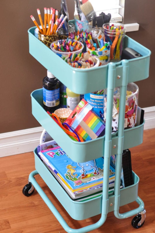 Suburble uses an Ikea cart to store all of her children's craft ...