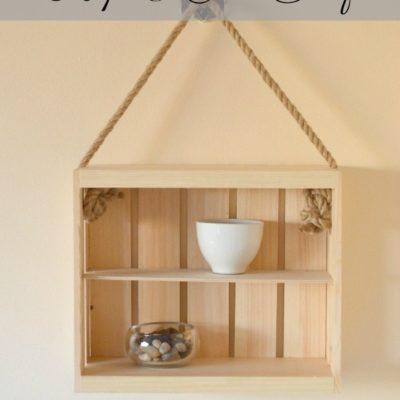 Create a diy Rope and Crate Shelf