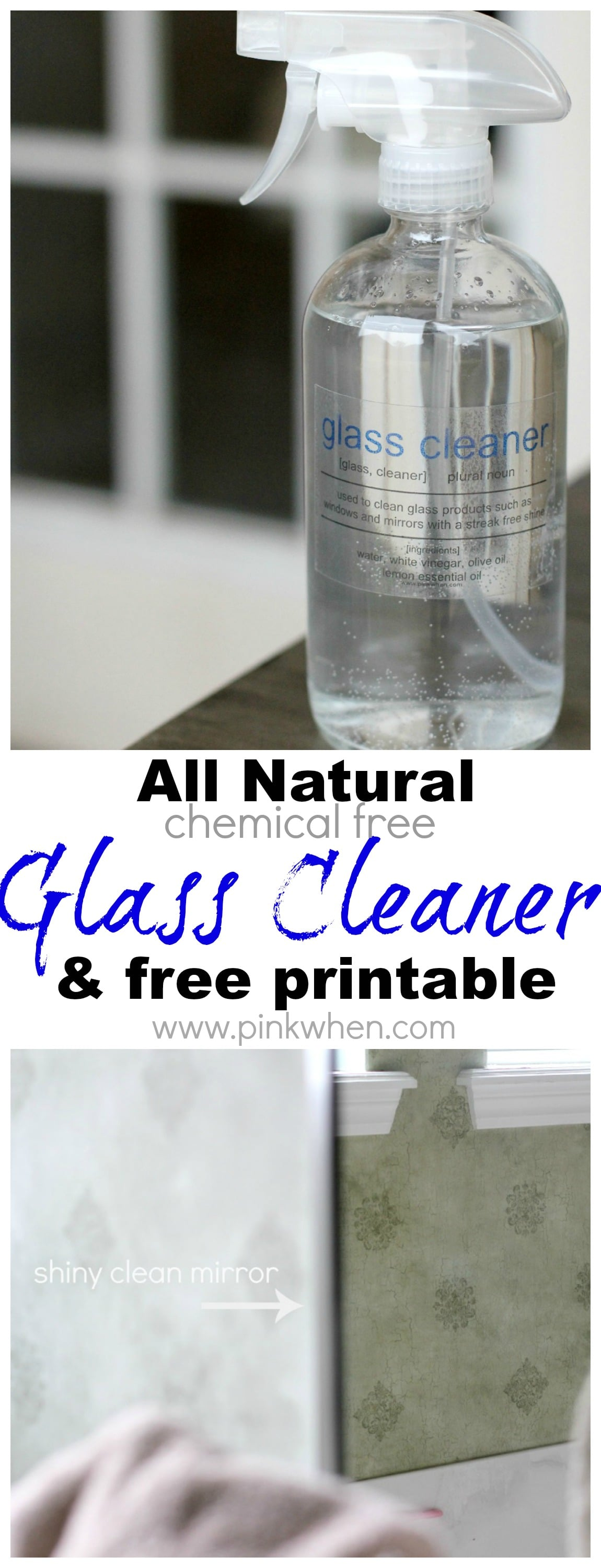 DIY All Natural Glass Cleaner @pinkwhen www.pinkwhen.com