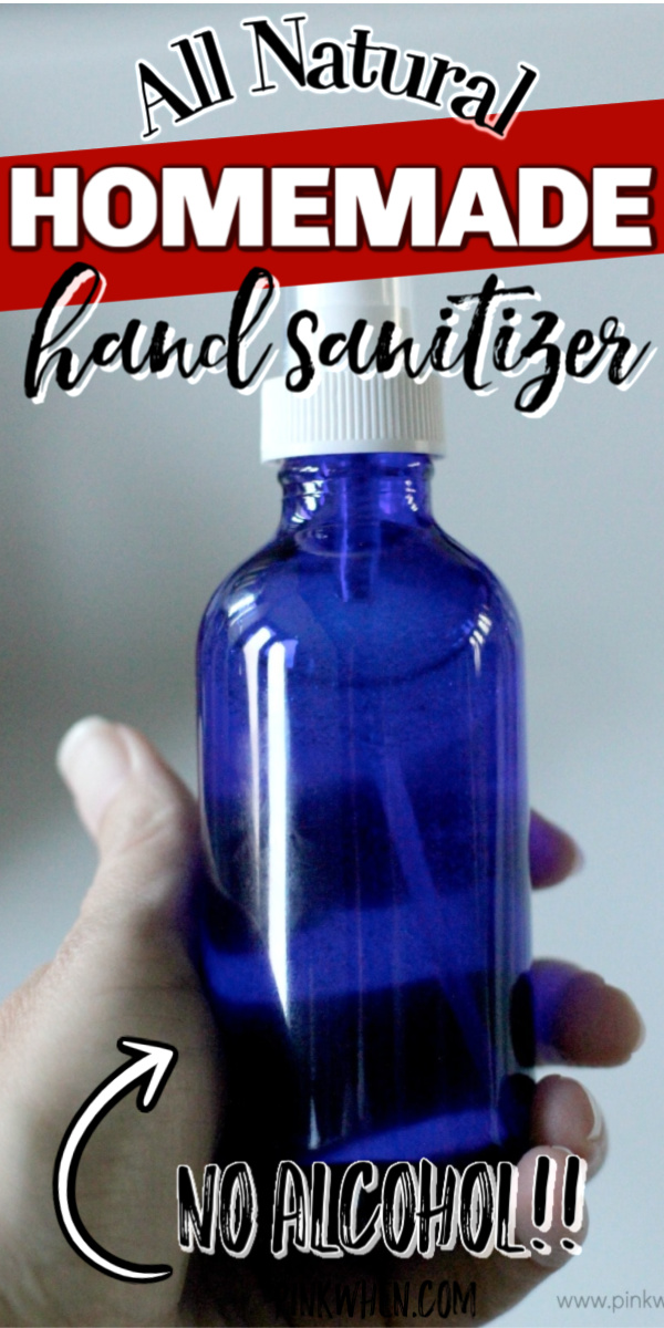 This all natural homemade hand sanitizer won't dry out your hands and doesn't use alcohol. It's the perfect combination to keep your hands sanitized when hand washing isn't an option.