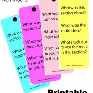 Reading Comprehension Bookmark Reminders (Printables)