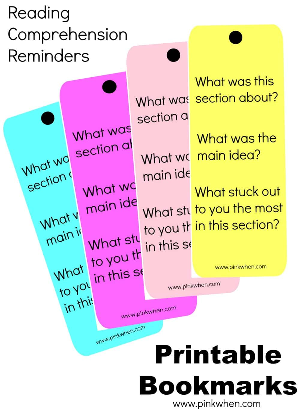 Worksheet Reading Comprehension Questions reading comprehension bookmark reminders printables pinkwhen reminders