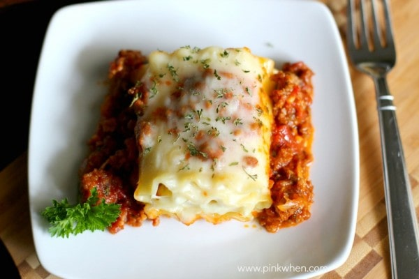 Lasagna Rolls on a white dish for serving.
