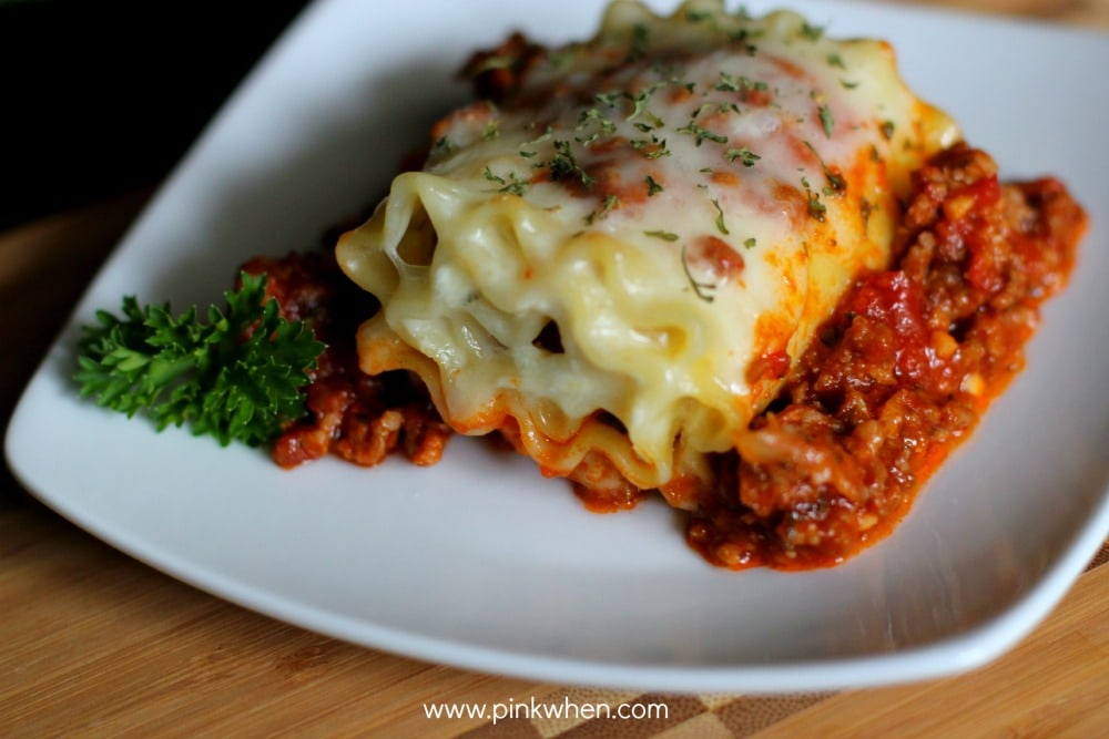 Lasagna Roll Ups on a white plate.