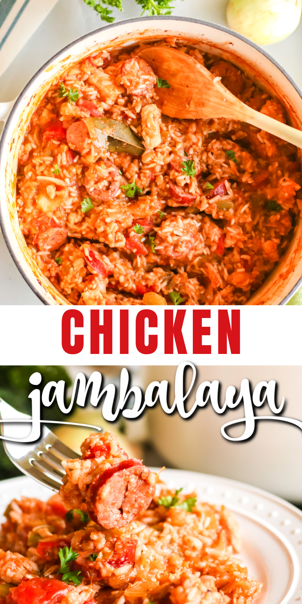 This chicken jambalaya recipe is a unique and classic recipe often made in the south. It's a delicious, filling recipe that's made with chicken, sausage, bell peppers, onion, celery, and delicious seasonings. It's the perfect easy family recipe to serve a big crowd and makes great leftovers.