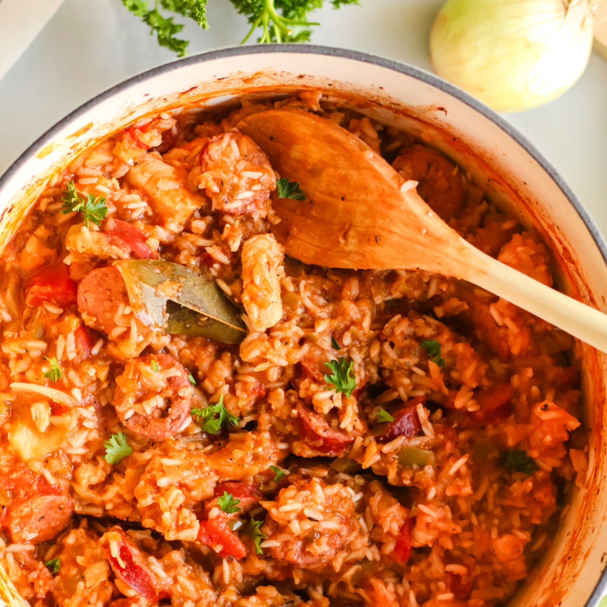 Chicken Jambalaya with sausage cooked and ready to serve