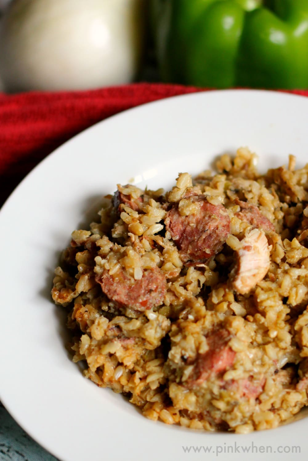 Chicken and Sausage Jambalaya Recipe www.pinkwhen.com @pinkwhen