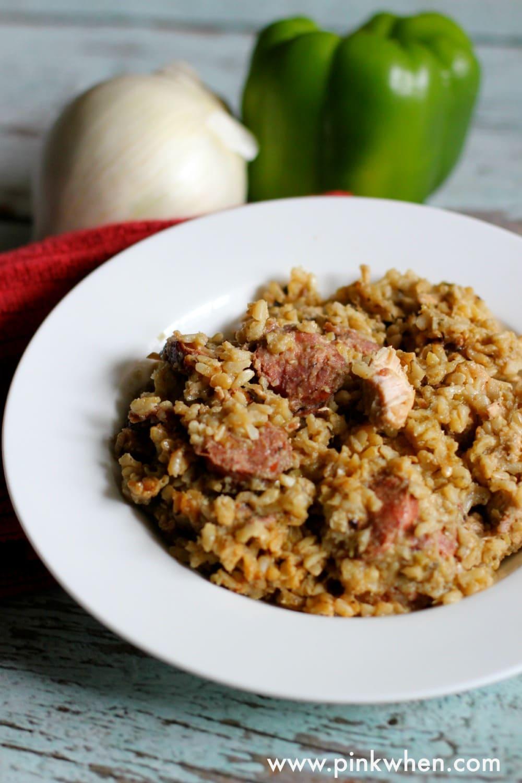 Chicken and Sausage Jambalaya Recipe www.pinkwhen.com @pinkwhen