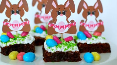 Easter Bunny Brownie and free printable www.pinkwhen.com