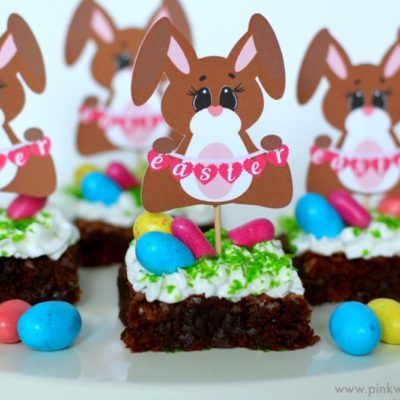 Easter Bunny Brownies with Printable Topper
