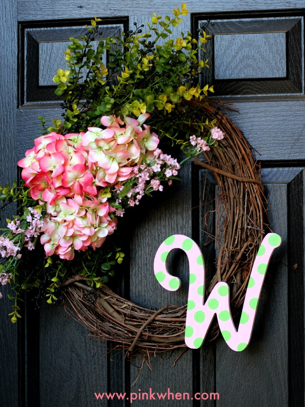 Spring Floral Outdoor Wreath Pinkwhen