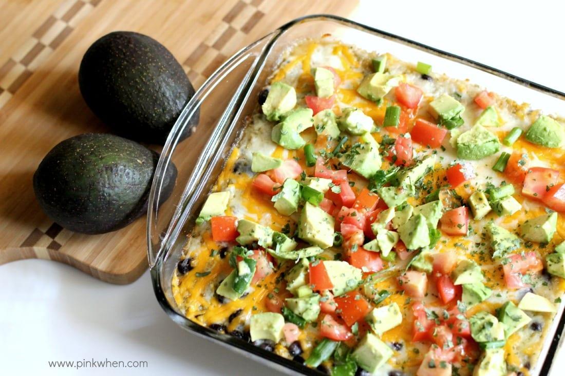 Cheesy Chicken Enchilada Quinoa CasserolePinkWhen