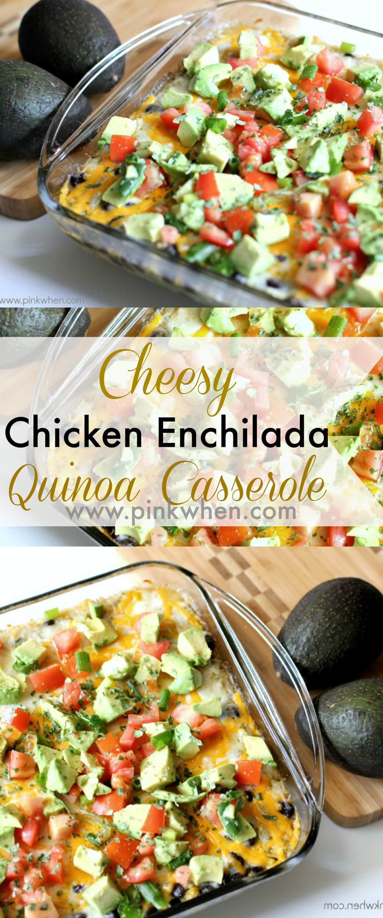 Cheesy Chicken Enchilada Quinoa Casserole Recipe www.pinkwhen.com