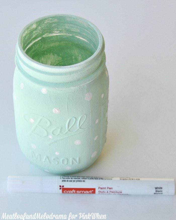 DIY Polka Dot Mason Jar Vase