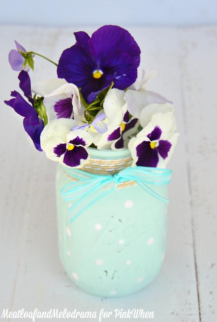 DIY Polka Dot Mason Jar VasePinkWhen