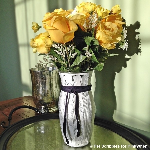 Glass Vase Makeover with Chalky Finish Paint