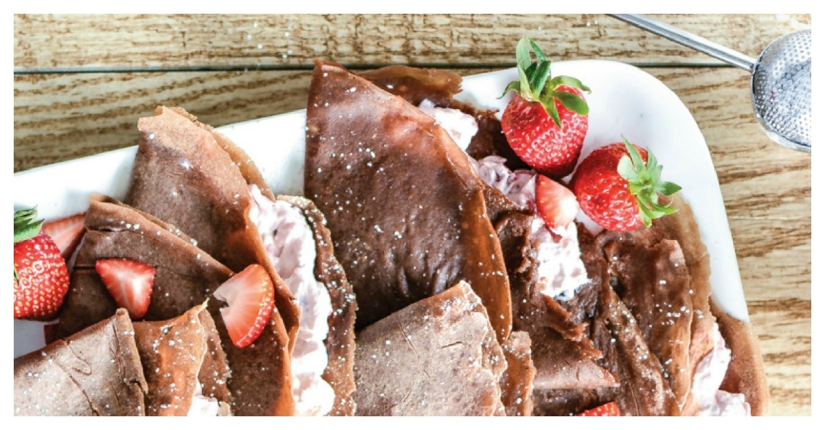 Strawberry Cheesecake Chocolate Crepes - PinkWhen