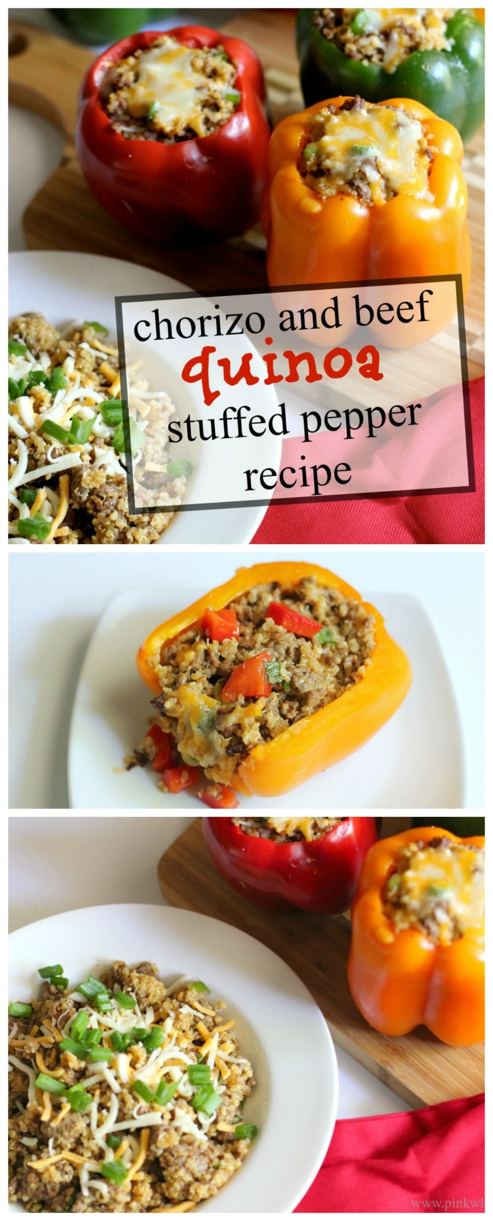 Chorizo and beef quinoa stuffed pepper recipe