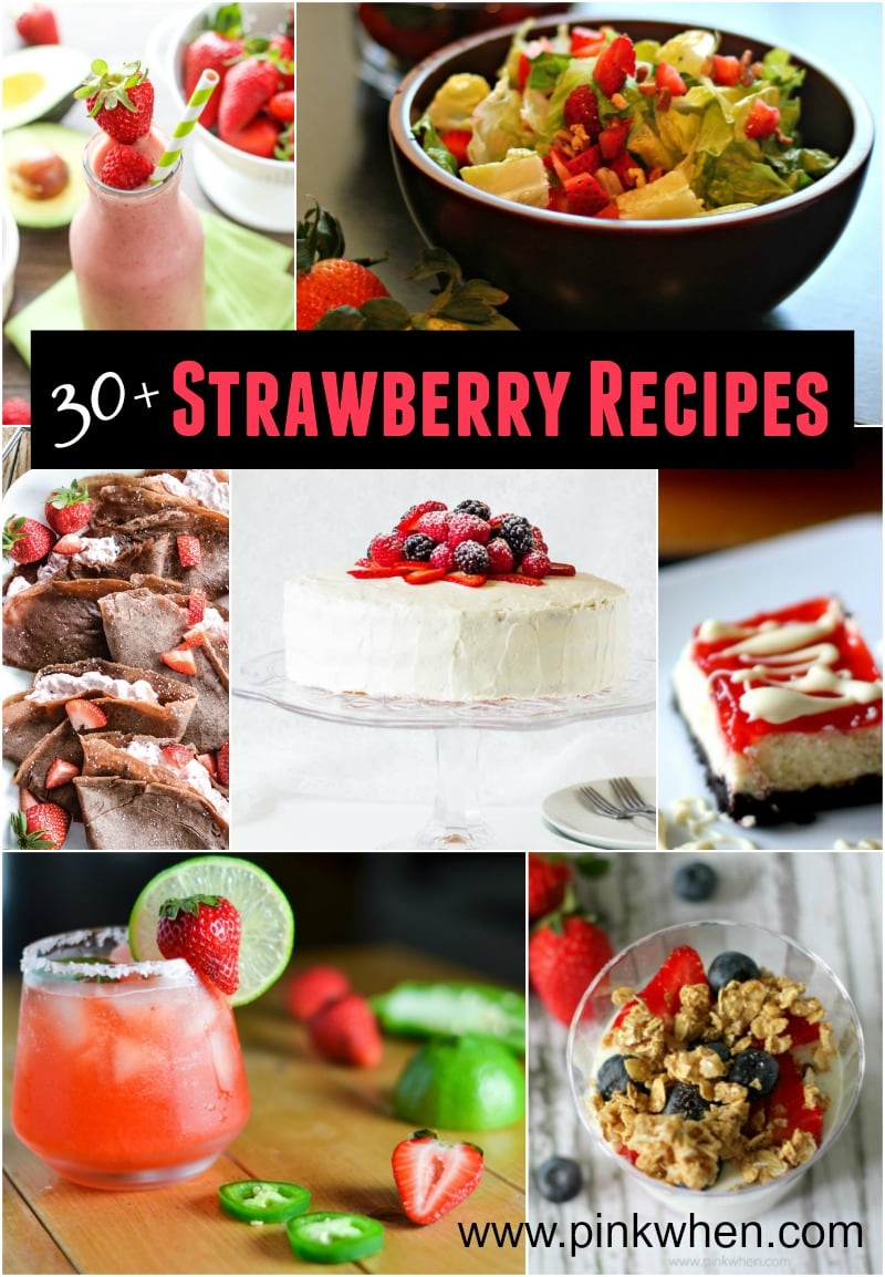 Over 30 Strawberry Recipes of All Types! featured on Pink When