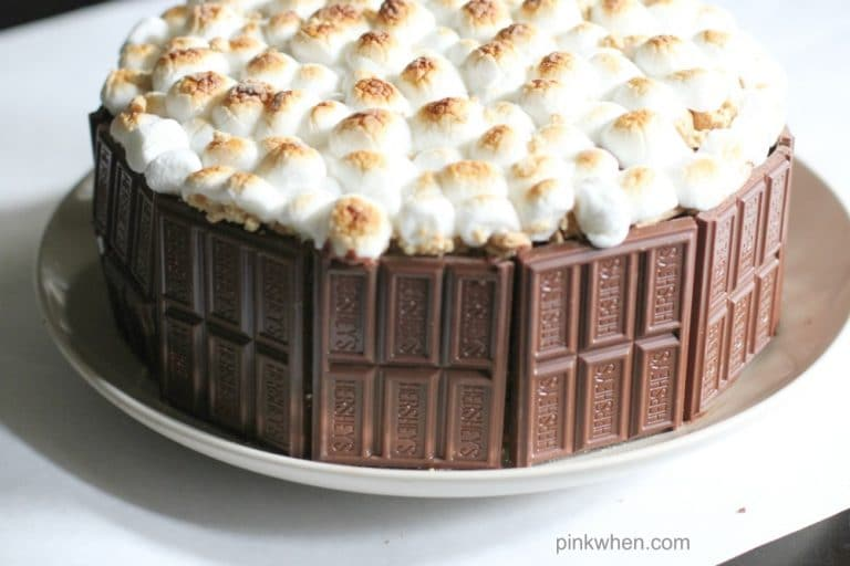 S'mores Cake Recipe on a white plate.