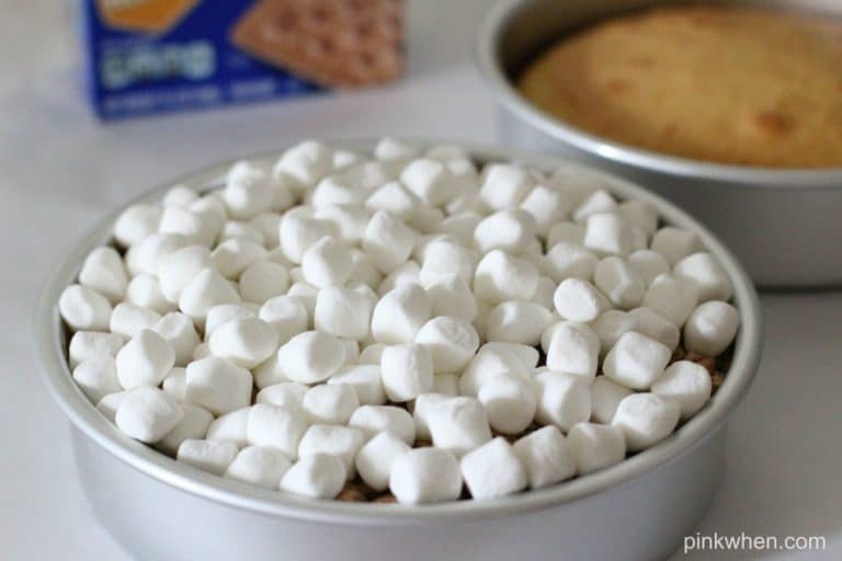 Marshmallows on top of cake in a baking dish.