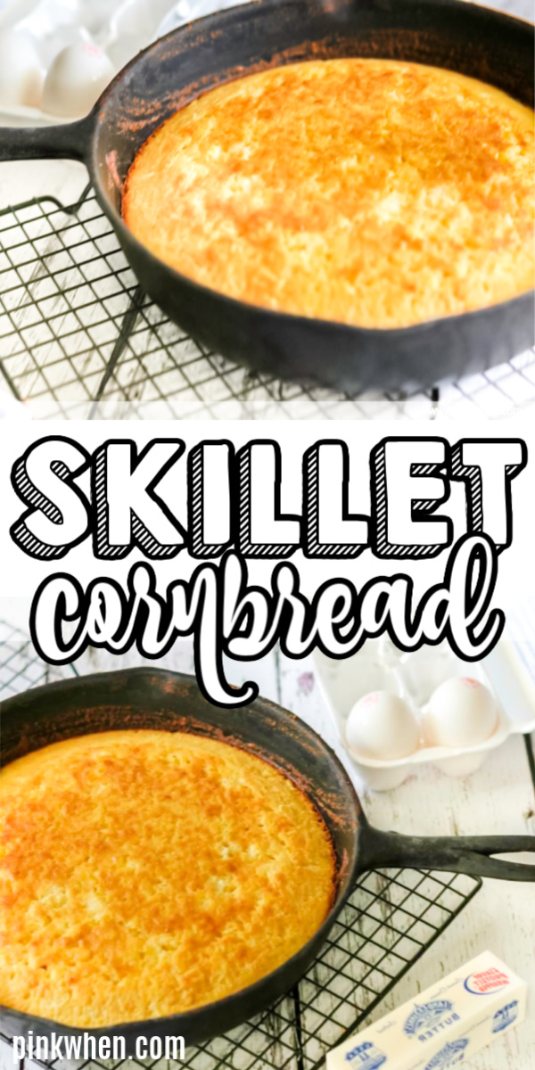 Skillet Cornbread is a quick and easy recipe that is made with just a handful of ingredients. It's the perfect easy cast iron skillet cornbread recipe that can be used with all of your favorite soups, stews, chili's, and more!