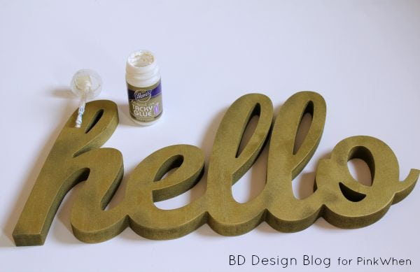 DIY Gold Glitter Hello Sign